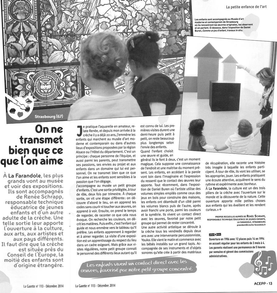 article dans la Gazette sur la crèche La Farandole - éditions nationale, décembre 2014